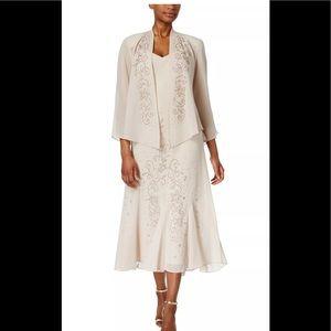 Formal 2pc Dress Plus Size 18 Beige R&M Richards